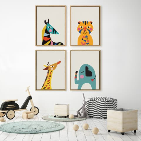 Kate and Laurel Sylvie Mid Century Modern Baby Tiger Framed Canvas by Rachel Lee