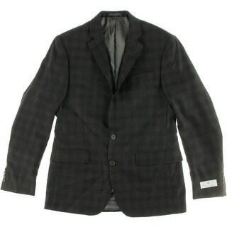 Ryan Seacrest Mens 02 Wool Plaid Two-Button Suit Jacket - 38R