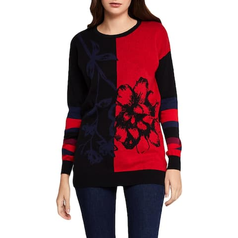 BCBGeneration Womens Pullover Sweater Two Tone Floral Print