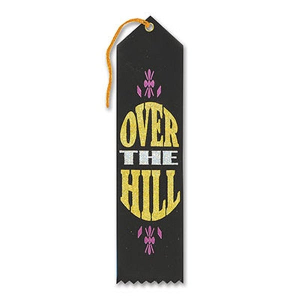 "Pack of 6 Black ""Over-The Hill Award"" School Award Ribbon Bookmarks 8"" - N/A"