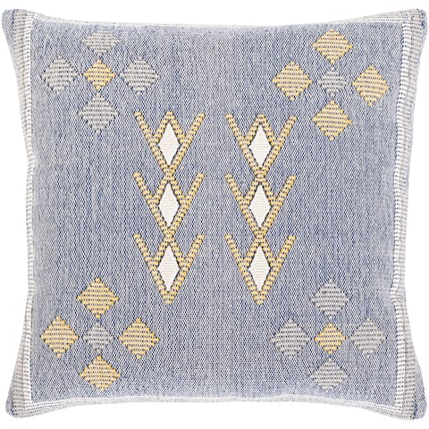 Xenia Hand Woven Denim Blue Boho Throw Pillow