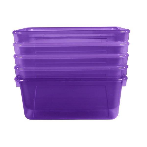 School Smart Translucent Cubby Bin, Small, 12 x 8 x 5 Inches, Candy Violet, Pack of 5