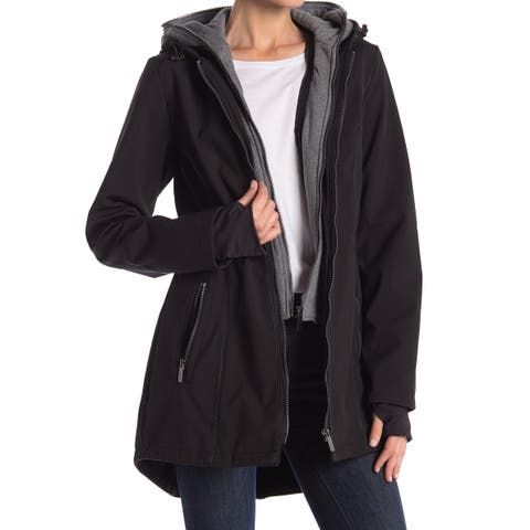 French Connection Black Womens Size Small S Hooded Layered Jacket