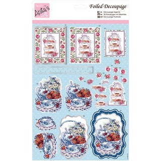 Anita's A4 Foiled Decoupage Sheet-Roses At Tea Time