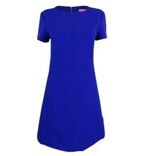 Betsey Johnson Women's Short-Sleeve Crepe Shift Dress - ROYAL