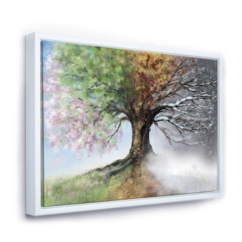 Designart 'Tree with Four Seasons' Tree Framed Canvas Art Print