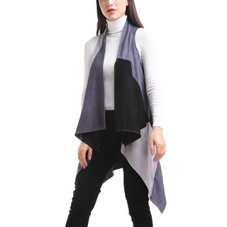 Mad StyleFaux Suede Patchwork Long Vest (Option: One size - Grey)