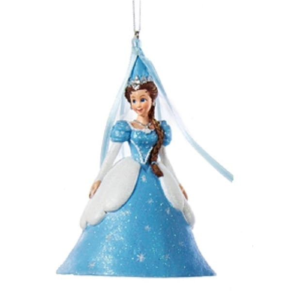 "4.5"" Ice Palace Princess in Light Blue Ball Gown with Steeple Hennin Headdress Christmas Ornament"