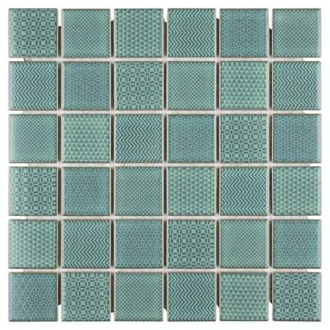 SomerTile 11.625x11.625-inch Jade Emerald Porcelain Mosaic Floor and Wall Tile (10 tiles/9.59 sqft.)