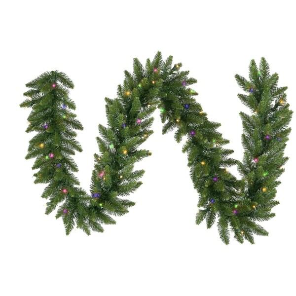 "50' x 14"" Pre-Lit Camdon Fir Commercial Artificial Christmas Garland - Multi LED - green"