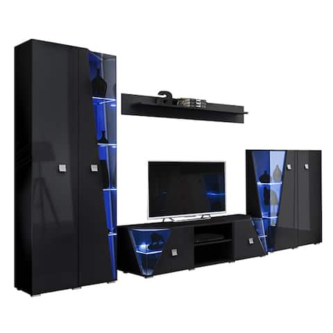 Edge Set TV-BK-CUR-SH Modern Wall Unit Entertainment Center