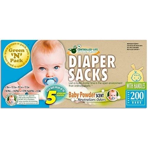 Green N Pack Easy-Tie Scented Baby Diaper Sacks / Diaper Bags 200-Count