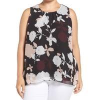 Vince Camuto Black Floral Print Chiffon Women's Size 2X Plus Blouse