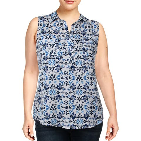 NY Collection Womens Blouse Printed Sleeveless