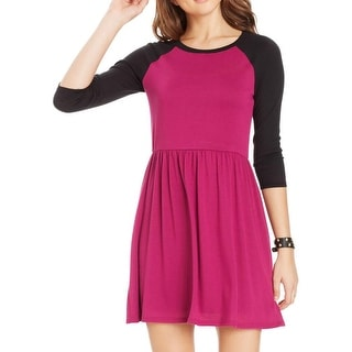 Wishes Wishes Wishes Womens Juniors Babydoll Dress Knit Contrast Trim - L