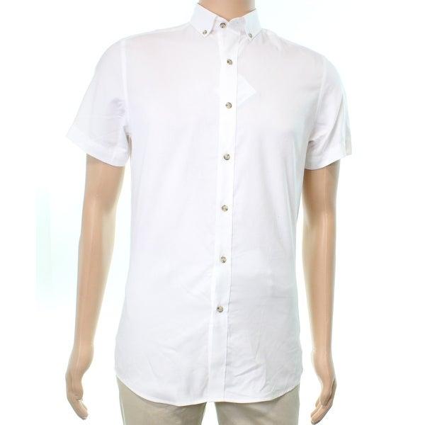 Shop Bar Iii Mens Oxford Slim Fit Stretch Button Down Shirt Free