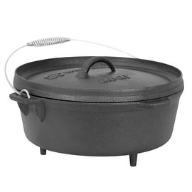 Winterial 6 Quart Cast Iron Camping Dutch Oven / Camping Cookware / Durable / Cooking …