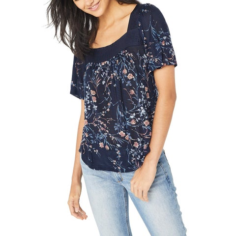 Lucky Brand Navy Blue Women's Size Small S Floral Printed Blouse