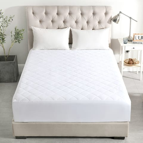 """Quilted Mattress Protector Pad Topper Cover 16"""" Deep Fitted Bed Sheet"""