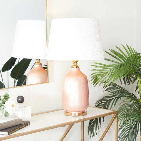 Pink Polyester Glam Table Lamp - 16 x 16 x 17