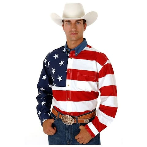 Roper Western Shirt Mens L/S Tall American Flag - Red