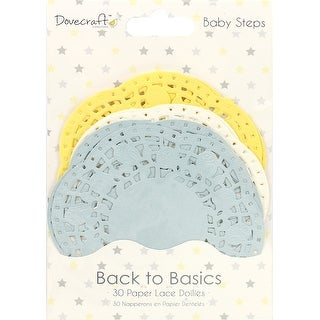 Dovecraft Back To Basics Paper Lace Doilies 30/Pkg-Baby Steps, 3 Colors/10 Each