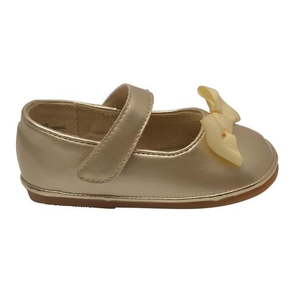 4c8206ba8 Shop Angel Little Girls Gold Patent Grosgrain Bow Mary Jane Shoes 5 ...