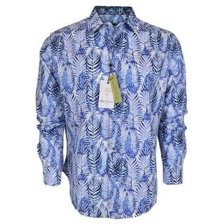 Robert Graham EWING Palm Leaf Print Button Down Sports Dress Shirt