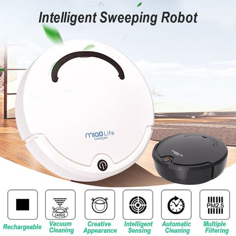 4-in-1 Smart Rechargeable Auto Sweeping Robot Vacuum Cleaner Strong Suction USB Charging Cordless Cleaning Robot, Black/White