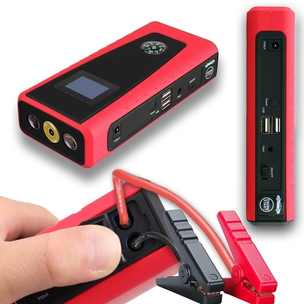 Indigi® 12000mAh Heavy Duty Mobile 12V Emergency Vehicle Jump Starter for Gasoline or Diesel Engines - black | red