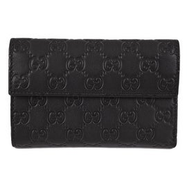 New Gucci 346057 Black Leather GG Guccissima French Wallet W/Coin Pocket