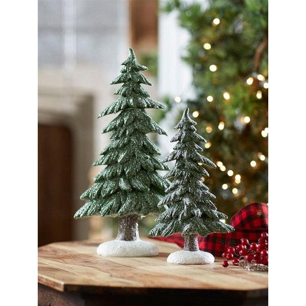 """Set of 2 Glistening Frosted Christmas Trees with Snow Covered Bottoms 16.75"""" - WHITE"""