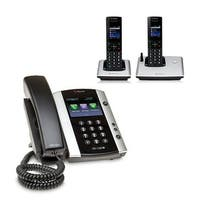 Polycom 2200-48500-001 VVX 501 12-line Business Media Phone with power supply & 2 VVX D60 Handset