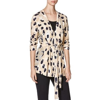 Lafayette 148 Womens Cardigan Top Silk Animal Print
