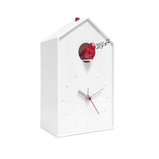 Balvi Cuckoo Clock - White Birdhouse with Red Bird, Minimalist Modern Design - 9 in. x 5 in. x 3 in.