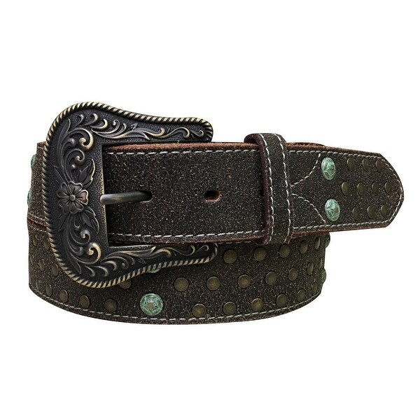 Dan Post Western Belt Womens Crackle Star Stud Brown