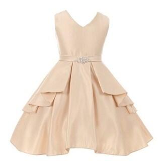 Good Girl Girls Champagne Dull Satin Ruffle Junior Bridesmaid Dress