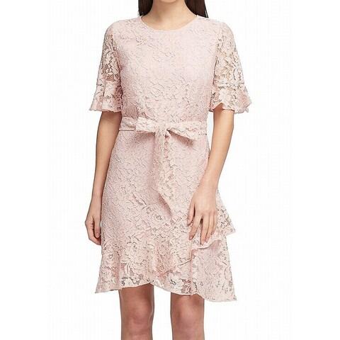 DKNY Pink Bluss Women's Size 6 Lace Ruffle Belted Sheath Dress