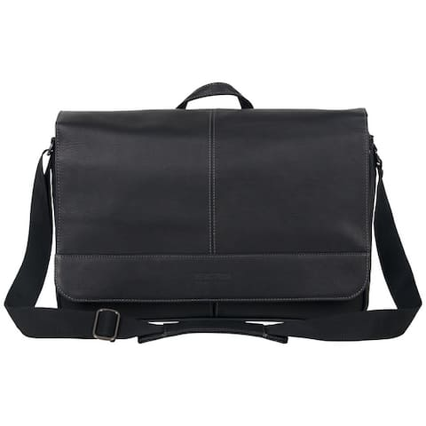 """Kenneth Cole Reaction 'Come Bag Soon' Full-Grain Colombian Leather 15.6"""" Laptop & Tablet Anti-Theft RFID Crossbody Messenger Bag"""