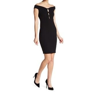 AEOM Black Womens Size Small S Off Shoulder Cut Out Sheath Dress