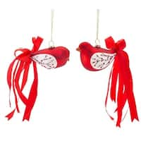 """Pack of 12 Red Glass Cardinal with Ribbon Tail Christmas Ornaments 2"""""""