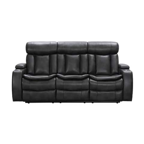 Abbyson Marlin Top Grain Leather Dual Power Reclining Sofa with Storage Console
