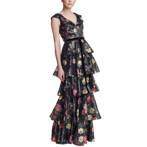 Marchesa Notte Metallic Printed Tiered Gown