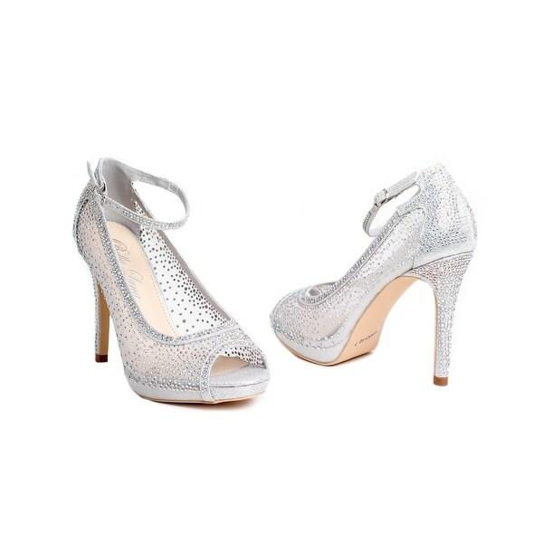 Embellished Mesh Peep-Toe Ankle Strap Pump
