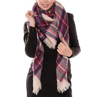 "Women Plaid Blanket Shawl Scarf for Fashion Wear & Winter - 56"" x 56"""