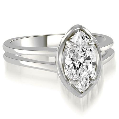 1.00 cttw. 14K White Gold Split Shank Marquise Cut Halo Diamond Engagement Ring