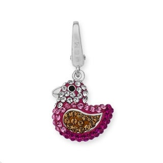 Crystal Rubber Duck Charm in Sterling Silver - Pink