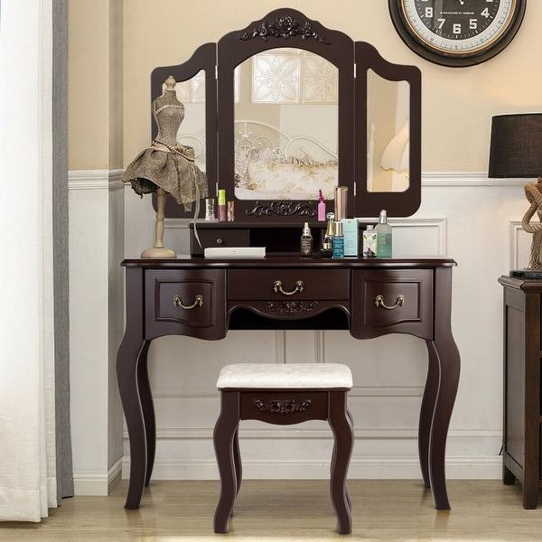 . Shop Gymax Bathroom Makeup Vanity Dressing Table Set With Stool Tri