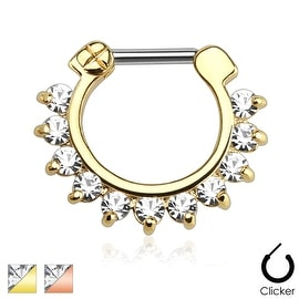 Single Line Pronged Gems Ion Plated 316L Surgical Steel Bar Septum Clicker (Sold Ind.)