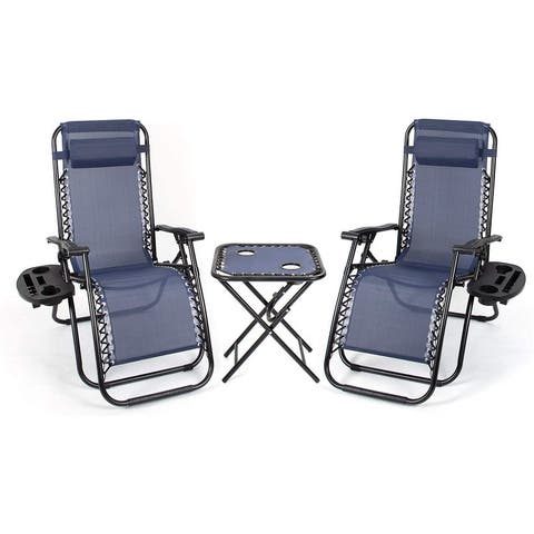 Homall Zero Gravity Chairs Outdoor Folding Recliners Adjustable Lawn Patio Lounge Chair with Side Table and Cup Holders